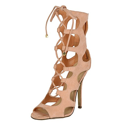 Breckelles Womens Gladiator Heels Tie Up Sandals Nude 8.0 in the ...