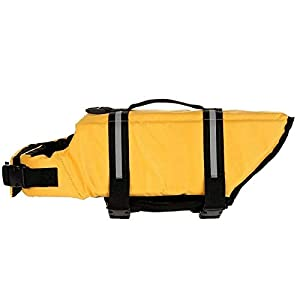 L Yellow Pet Dog Life Jacket Bones Patterns Safety Clothes Life Vest Harness Saver Pet Dog Swimming Preserver Clothes… Click on image for further info.
