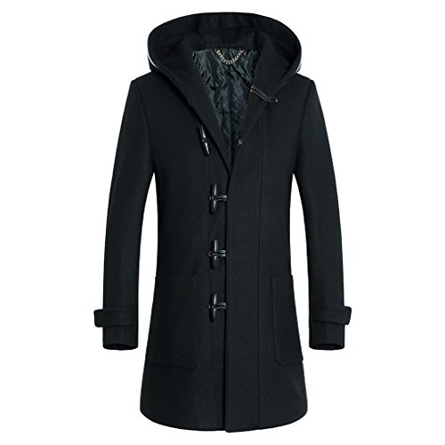 YanCui@ Daily / Going out / Work / Business Fall Winter Men's Horn Buckle Black Hooded Woolen Coat,Black,XL by YanCui Men's Jackets and Coats