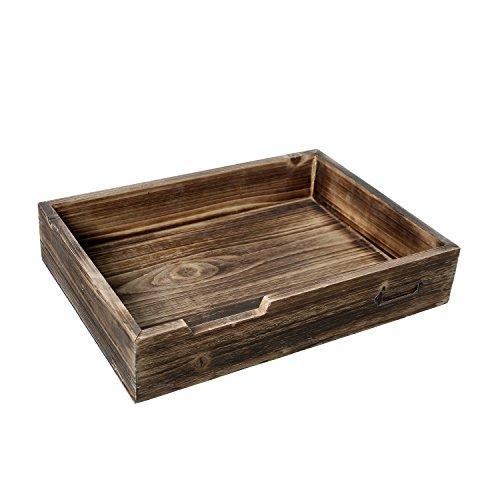Stackable Rustic Dark Wood Desktop Office Supplies, Document & Paper Tray w/Metal Label Holder