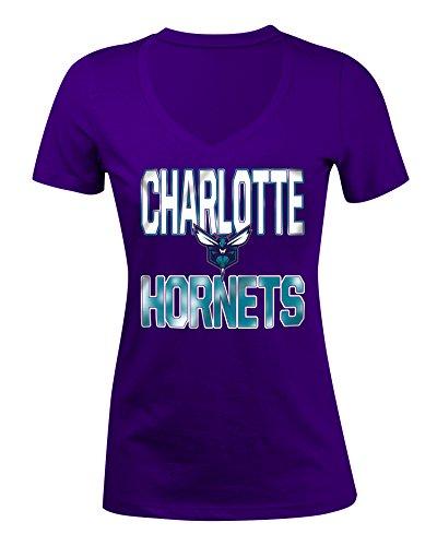 NBA Charlotte Hornets Women's Baby Short sleeve V Neck Tee, Purple, - & Shorts 5th Ocean