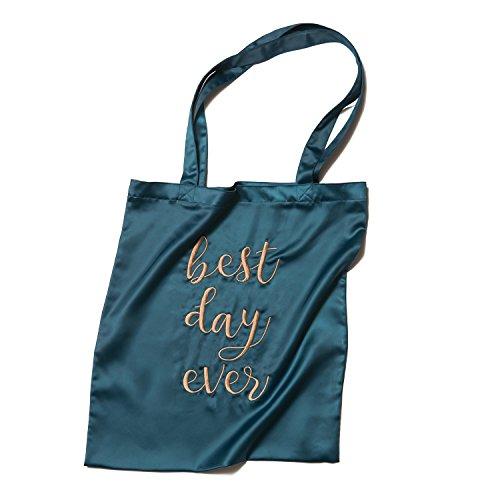 Ling's moment Bride Bridesmaid Gift Bag Wedding Favor Bag Canvas Cotton Tote Bag (Emerald Green / Best Day Ever (Canvas Tote Bag Green)