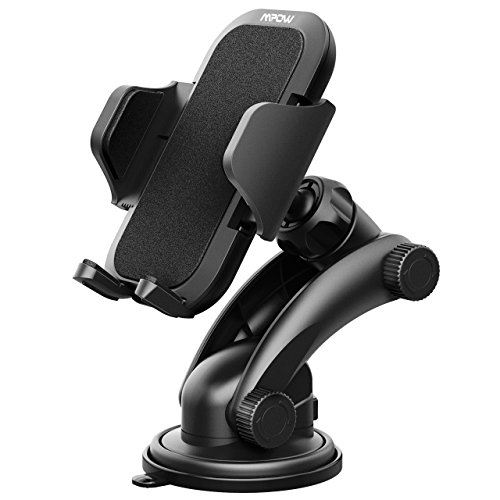 Car Phone mount, Mpow Phone holder 360 Degree Rotation Universal Adjustable Dashboard Windshield Car Mount Cell Holder Cradle for iPhone 6S/6/8/8Plus/7/7S/7plus/5/5S Samsung Galaxy S7/S7 edge/S8/8 Plus/a5/S5/S4/Note 2/Note 8Plus/LG g6/G5/G4/Google pixel/Nexus 6p,GPS and other smartphones—Black