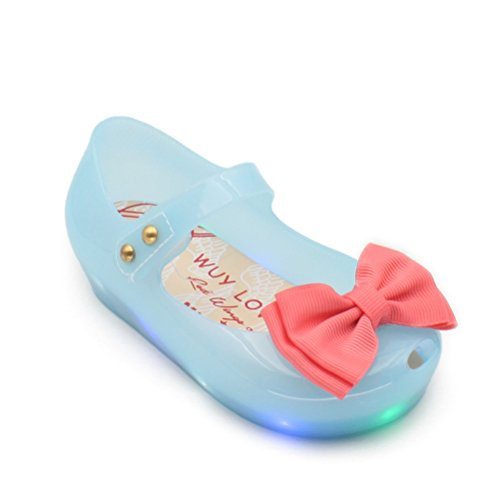OMGard LED Lighting Cute Ribbon Bow Princess Minnie Sandals Jelly Shoes Kid Girl Gift Toddler (Princess Shoes For Toddlers)