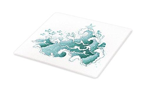 Lunarable Nautical Cutting Board, Ocean Waves Starfish Shells
