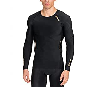 SKINS Men's A400 Long Sleeve Compression Top, Black, X-Small