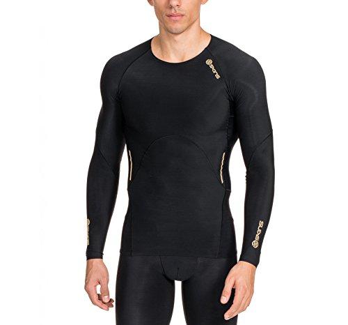 SKINS Men's A400 Long Sleeve Compression Top, Black, - Skins Men