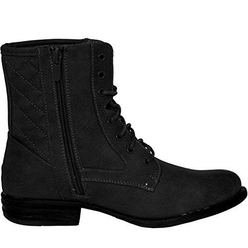 CASPAR Fashion - Botas de cuero sintético para mujer Negro - negro