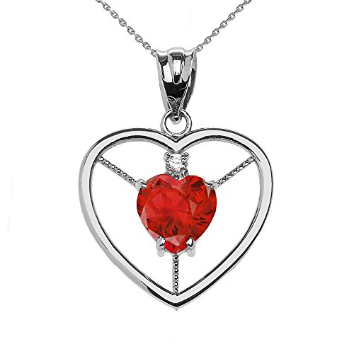 Collier Femme Pendentif Élégant 925 Argent Fin Diamant et Juillet Pierre De Naissance Rouge Oxyde De Zirconium Cœur Solitaire (Livré avec une 45cm Chaîne)