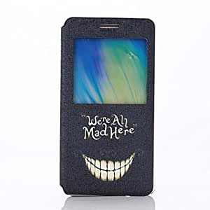 qyf White Teeth Laughing Pattern PU Leater Open Window Stand Full Body Case for Samsung Galaxy A5