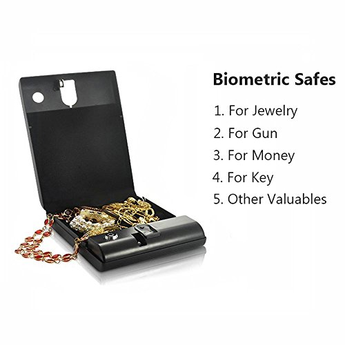 Portable Fingerprint Safe, Electric Biometric Safe for Gun, Car Keys, Security Box with 2 Keys for Money and Jewelry, Black Fire Arm Cable