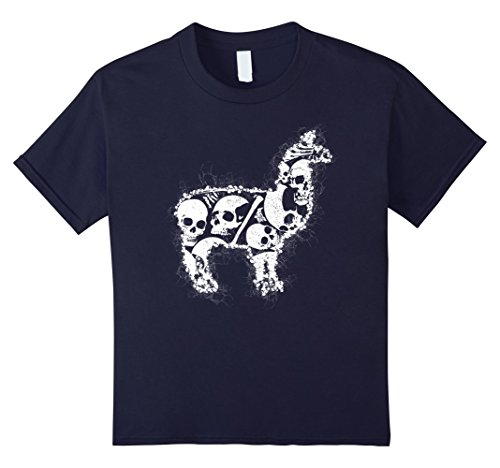 Kids Skeleton Skull Costume T-shirt For ALPINE DACHSBRACKE Lovers 12 Navy
