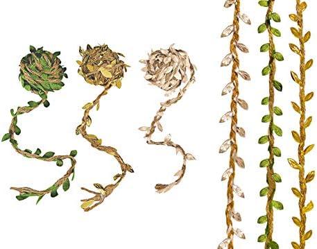 Metallic Gold Satin Leaf Ribbon Metallic Silver or Olive Green Satin Trim