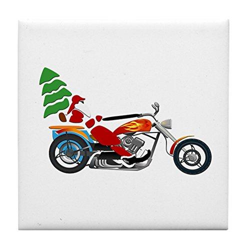 Tile Coaster (Set 4) Holiday Biker Santa on his Motorcycle/Chopper