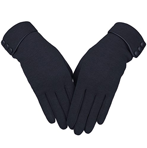 Knolee Women's Screen Gloves Warm Lined Thick Touch Warmer Winter Gloves,Black One Size