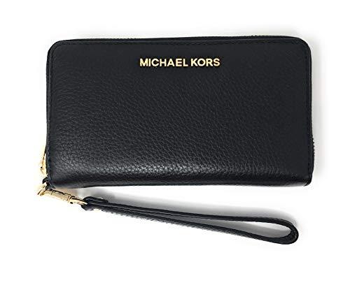 Michael Kors Jet Set Travel Large Flat Multifunction Phone Case Wristlet Pebble Leather (Black) (Michael Kors Jet Set Large Multifunction Phone Case)