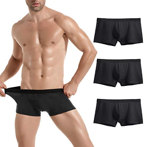 Donppa Mens Underwear Breathable Boxer Briefs Pack U Pouch Cotton Soft Shorts Pants No Fly for Boys(3 Black M)
