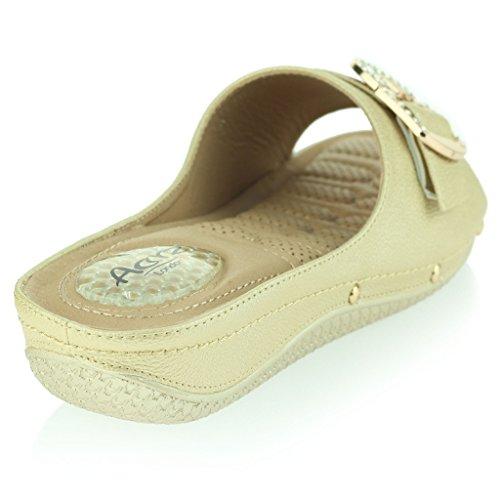 de Flexible Zapatos Presión Cuña Tacón Señoras Masaje Suave Amortiguado Ponerse Talla Oro Único Casual de Respirable Sandalias Puntos Mujer Antideslizante TS0wq6q