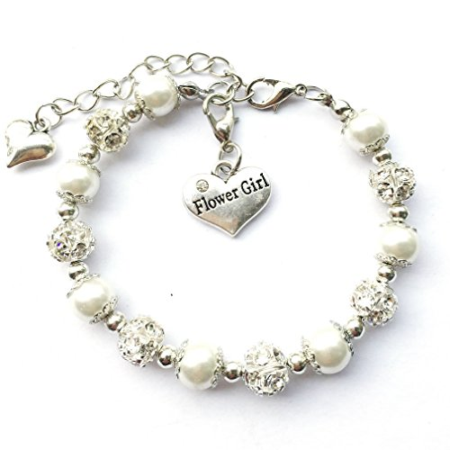 DOLON Flower Bridal Wedding Faux Pearl Charm Bracelet White -