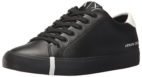 A|X Armani Exchange Women's Eco Leather Low Top Sneaker, Nero, 7 M - Womens Tops Exchange Armani