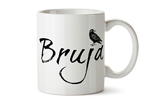 SAYOMEN - Bruja Coffee Mug, Bruja Witch Mug, Witchcraft Gift, Raven Coffee Mug, Halloween, Black Crow Mug, Nevermore Mug Dark Art Goth Gift Witchcraft MUG 15oz -