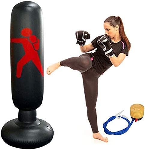 160cm Inflatable Boxing Punching Bag Free Standing Adult Kid Fitness Training US