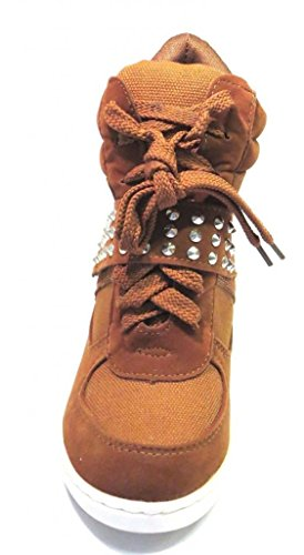 Rsl Colima-12 Damesmode Met Sleehak Bezaaid Klassiek Sneakers Tan