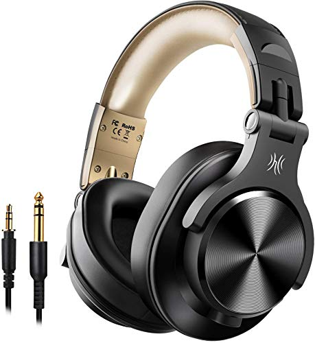 OneOdio Bluetooth Kopfhörer Over Ear, Geschlossene HiFi Studiokopfhörer, kabellos Headphones 40 Stunden,kabelgebundene DJ Kopfhörer mit Kabel für E-Drum Piano Gitarre AMP Recording Monitoring