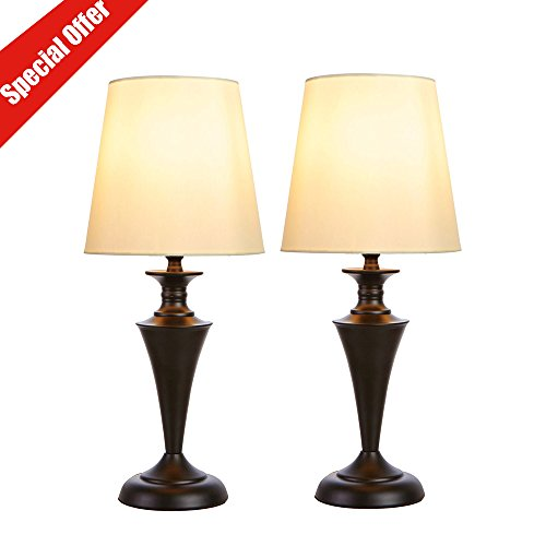 SOTTAE Luxurious Retro Black Base Metal Bedroom Bedside Table Lamp, Beige Fabric Shade Living Room Lamps(Set of 2)