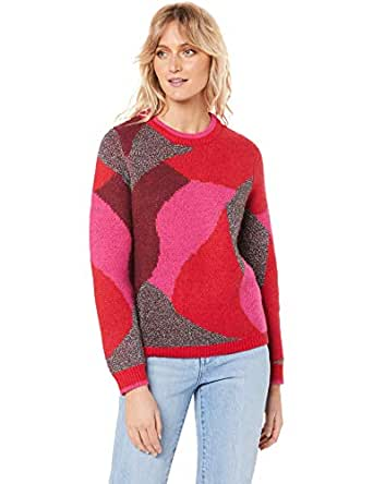 French Connection Women's Intarsia Lurex Knit, Multi, Extra Small