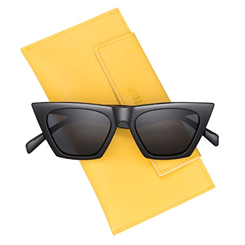 Mosanana Small Size Vintage Cat Eye Sunglasses for Women Girls Pointy Square Clic Style Black Retro Mod Clout Goggles Goggs Tiny Old School Sharp Pointed Tip 90s 60s Cateye Trendy UV Protection Lens