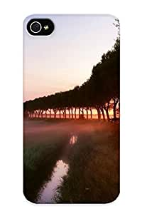 NKEdMaL3428rPvpH Tpu Phone Case With Fashionable Look For Iphone 4/4s - Sunset At The Foggy Field Case For Christmas Day's Gift