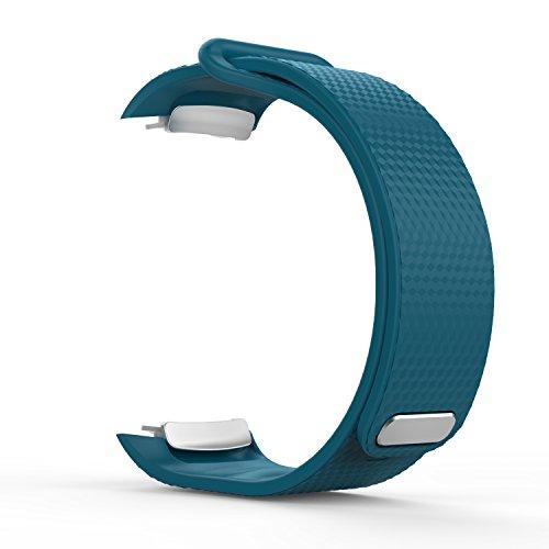 MoKo Samsung Gear Fit II Armband - Silikon Sportarmband Sport Band Uhrenarmband Erstatzband mit Stiftschließe aus Edelstahl für Samsung Gear Fit II Smartwatch, Blau (3 St. Armbänder für 2 Längen)