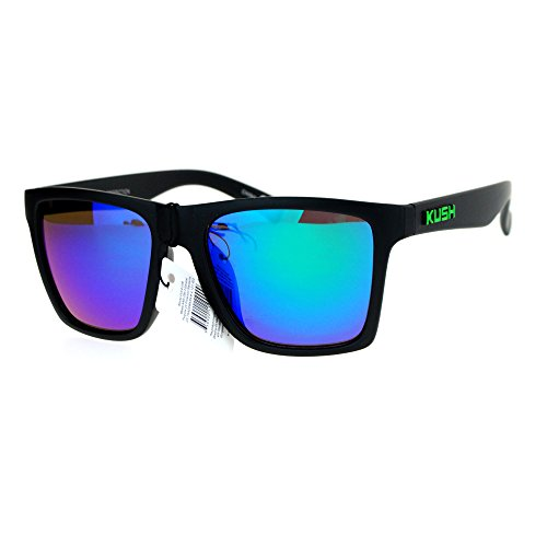 KUSH Sunglasses Classic Square Matte Black Green, Teal Mirror Lens UV - Kush Sunglasses