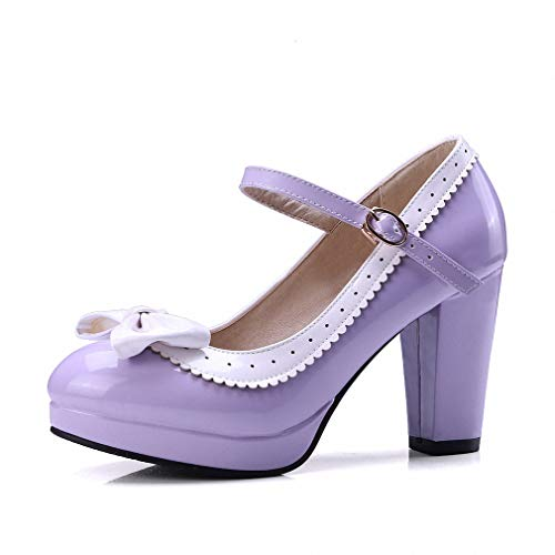 (HILIB Woman's high Heel Lolita Shoes Cute Bowknot Mary Jane Shoes Purple)