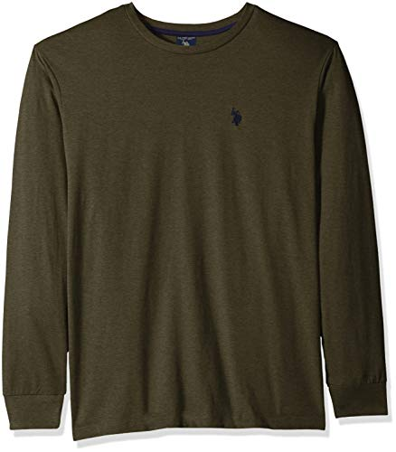 cd9b87056aa7eb U.S. Polo Assn. Men's Long Sleeve Crew Neck T-Shirt, Army Heather L