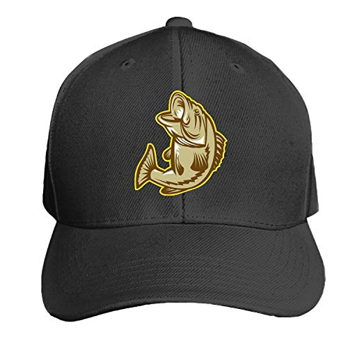 Customized Unisex Trucker Baseball Cap Adjustable Largemouth Bass Fish Peaked Sandwich Hat