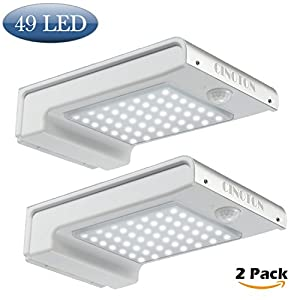 CINOTON Outdoor Solar Wall Lights Ultra Bright 49 LED Security Lighting Motion Sensor Dusk-to-dawn Photocell Wireless Waterproof for Garden,Yard,Patio, Driveway,Stairs. (2 PACK)