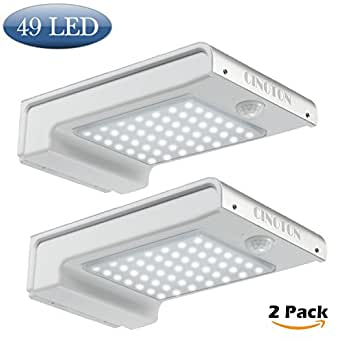 CINOTON Outdoor Solar Wall Lights Ultra Bright 49 LED Security Lighting Motion Sensor Dusk-to-dawn Photocell Wireless Waterproof for Garden,Yard,Patio, Driveway,Stairs (2 PACK)