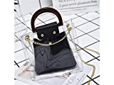 Shoulder Bag Transparent Shopping Bag Clear Tote with Round Handle Perfect for Girls Work or Daily Use (Pink) Shopping Bag (Color : Black, Size : 21x7x21cm)