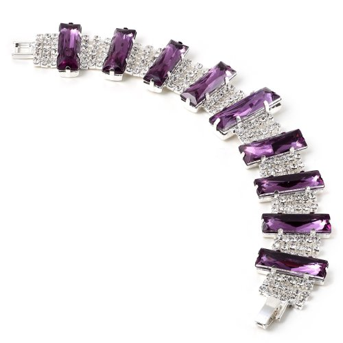 Silver Amethyst 6 Line Rhinestone and Rectangular Shape Acrylic Alternate Link Bracelet
