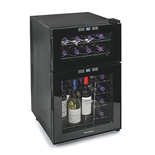 Wine Enthusiast 272 03 24 05 Silent 24 Bottle Dual Zone Touchscreen Wine Cooler, Black by Wine Enthusiast