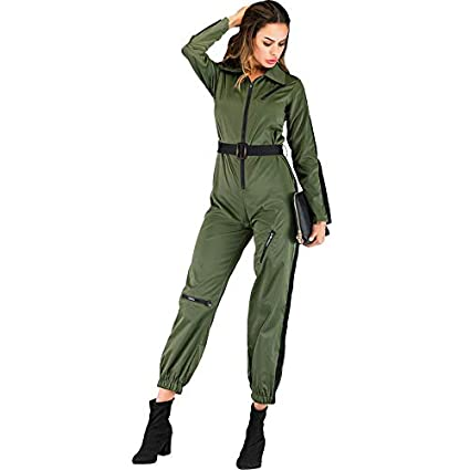 Festnight Women Jumpsuit Zipper Turn-Down Collar Long Sleeve Solid Casual Cool Rompers Playsuit