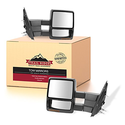 (Trail Ridge Tow Mirror Power Heated Signal Puddle Light Black Pair Set for F150)