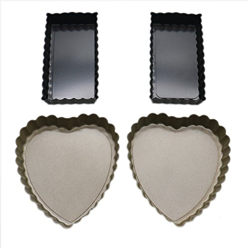 (Buorsa 4 Pcs Tart Pans with Removable Bottom Rectangular Quiche Pan and Heart Shaped Quiche Pans Pie)