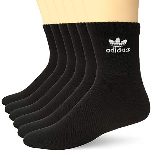 Adidas Crew Cut Socks - adidas Men's Originals Trefoil Cushioned Quarter Socks (6-Pack), Black/White, Size 6-12