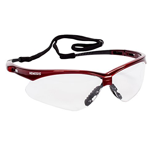 JACKSON SAFETY 47378 Nemesis Safety Glasses, Anti-Fog Lenses with Inferno/Red Frame, 1.75