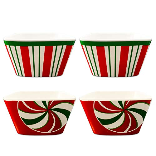 Christmas Dishes Bowls for Candy Dip Decorations - Pack of 4 Holiday Candy Cane Red White and Green Bowls, 3.5