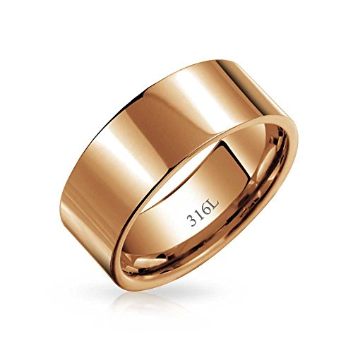 (Flat Wide Cigar Wedding Band Ring for Couples for Men for Women Rose Gold Plated Stainless Steel 8MM)