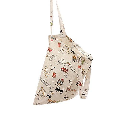 41705a1e1 Flowertree Women's Cute Animal Print Canvas Tote Bag (L024-Cat/Open ...